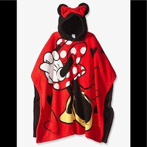 Disney Girls Minnie Mouse Plush Hooded Poncho